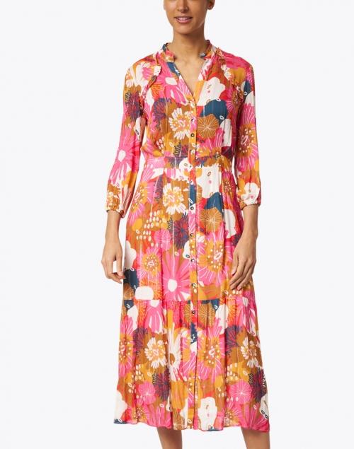 Vilagallo - Veiel Multi Floral Print Lurex Dress