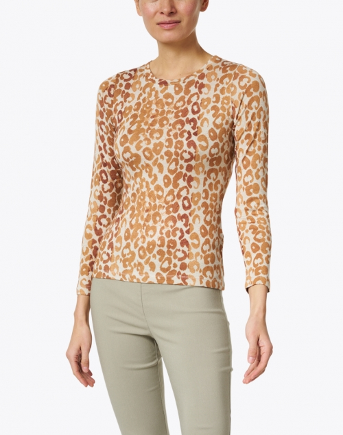 Pashma - Beige and Brown Animal Print Silk Cashmere Sweater