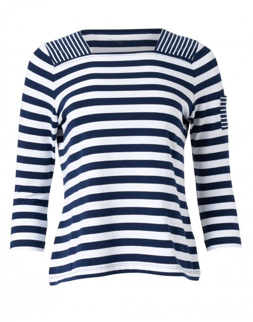 E.L.I. Navy and White Stripe Stretch Pima Cotton Top