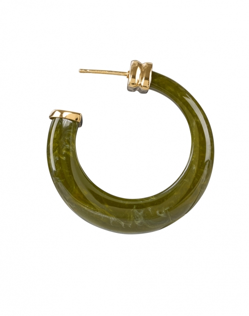 Gas Bijoux - Abalone Green Stone Hoop Earrings