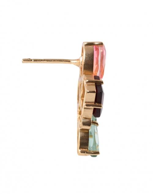 Atelier Mon - Rouge Garnet, Green Quartz, Crystal Rose Cluster Stud Earrings