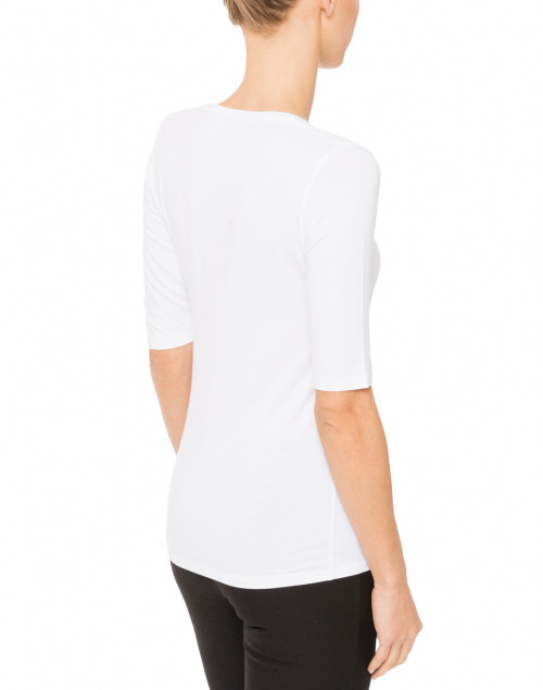 Majestic Filatures - White Scoop Neck Elbow-Sleeve Stretch Viscose Top
