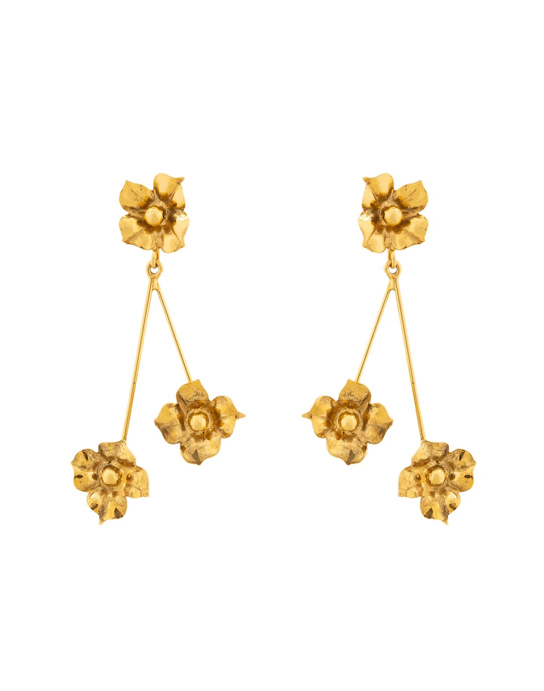 Dangle  Drop Style Flower Earring Gold Gift