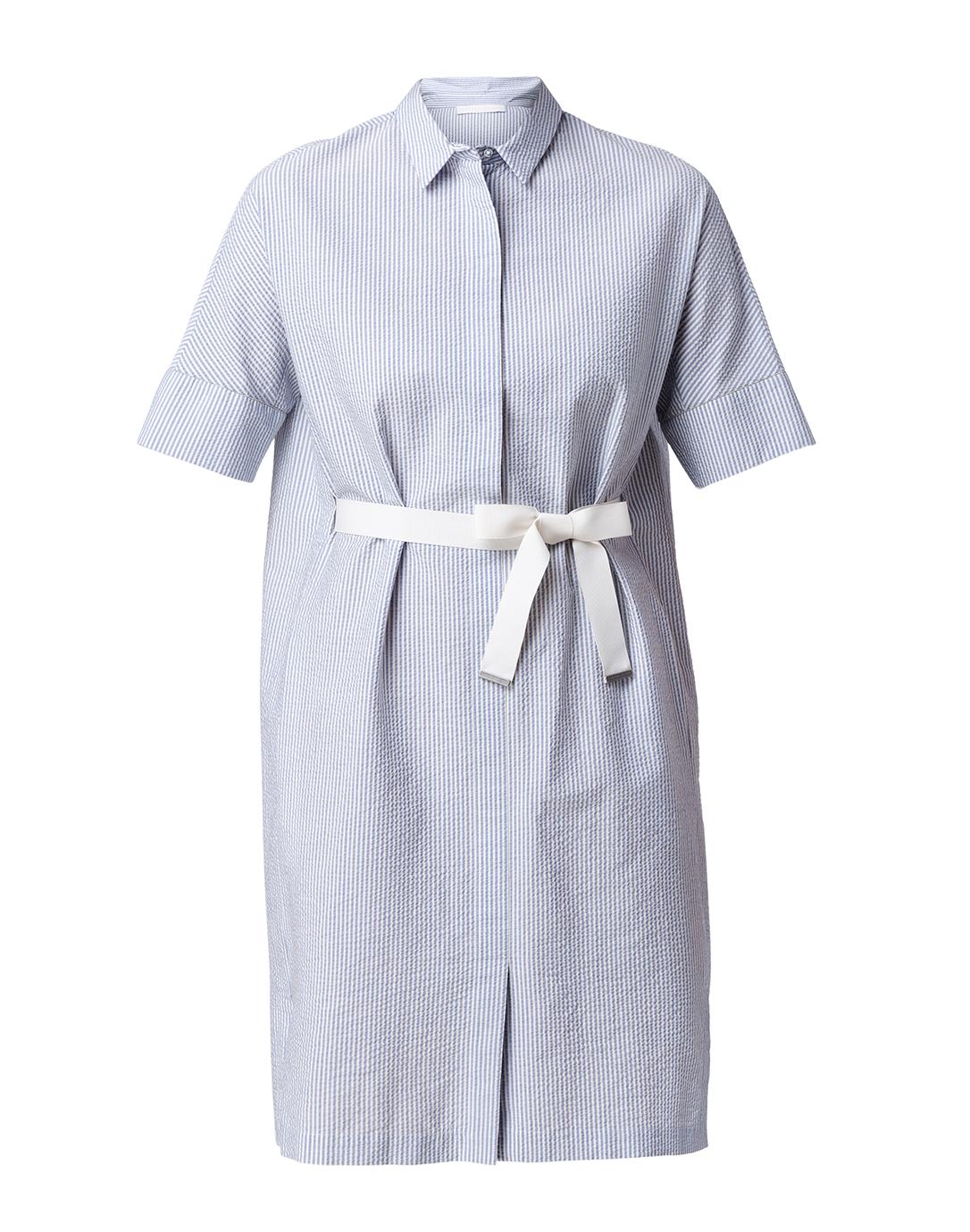 Blue And White Seersucker Shirt Dress Fabiana Filippi Halsbrook